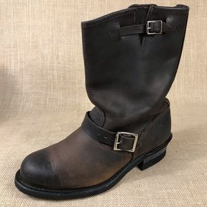 Frye Motorcycle Biker boots brown leather size 9 M